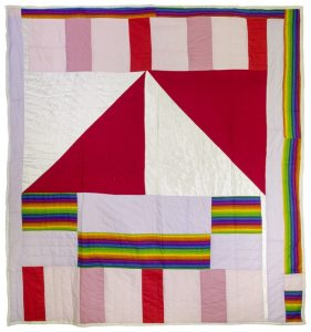 Arrow (2005), mixed fabrics, including cotton and synthetic brocade, 84 by 79 inches