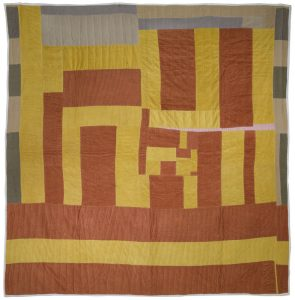 """Farmhouse"" 2003, corduroy and cotton, 88 by 80 inches"