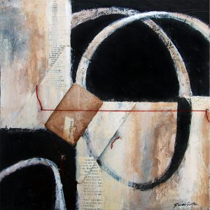 Untitled collage (2008), acrylic on wood panel with wood and string, 12 by 12 inches