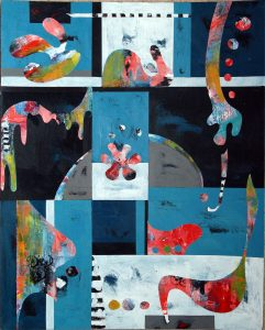 Untitled collage (2007), acrylic on cut paper on canvas, 18 by 24 inches