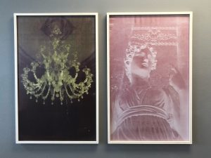 "Caput Mortuum and Temptress (both 2016), from the show ""Zeitbrechung,"" screenprints behind plexiglass, each 27 by 43 inches"