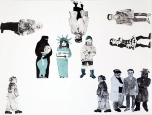 Me & You and Everyone We Suspect (2008), monotype with paper litho transfer, 30 by 22 inches