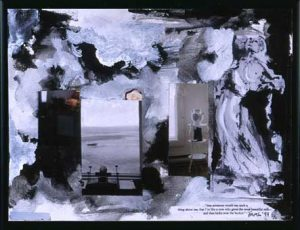 Spilled Milk (1999), collage on canvas, 10 by 12 inches (poetry by Anne-Marie Levine)