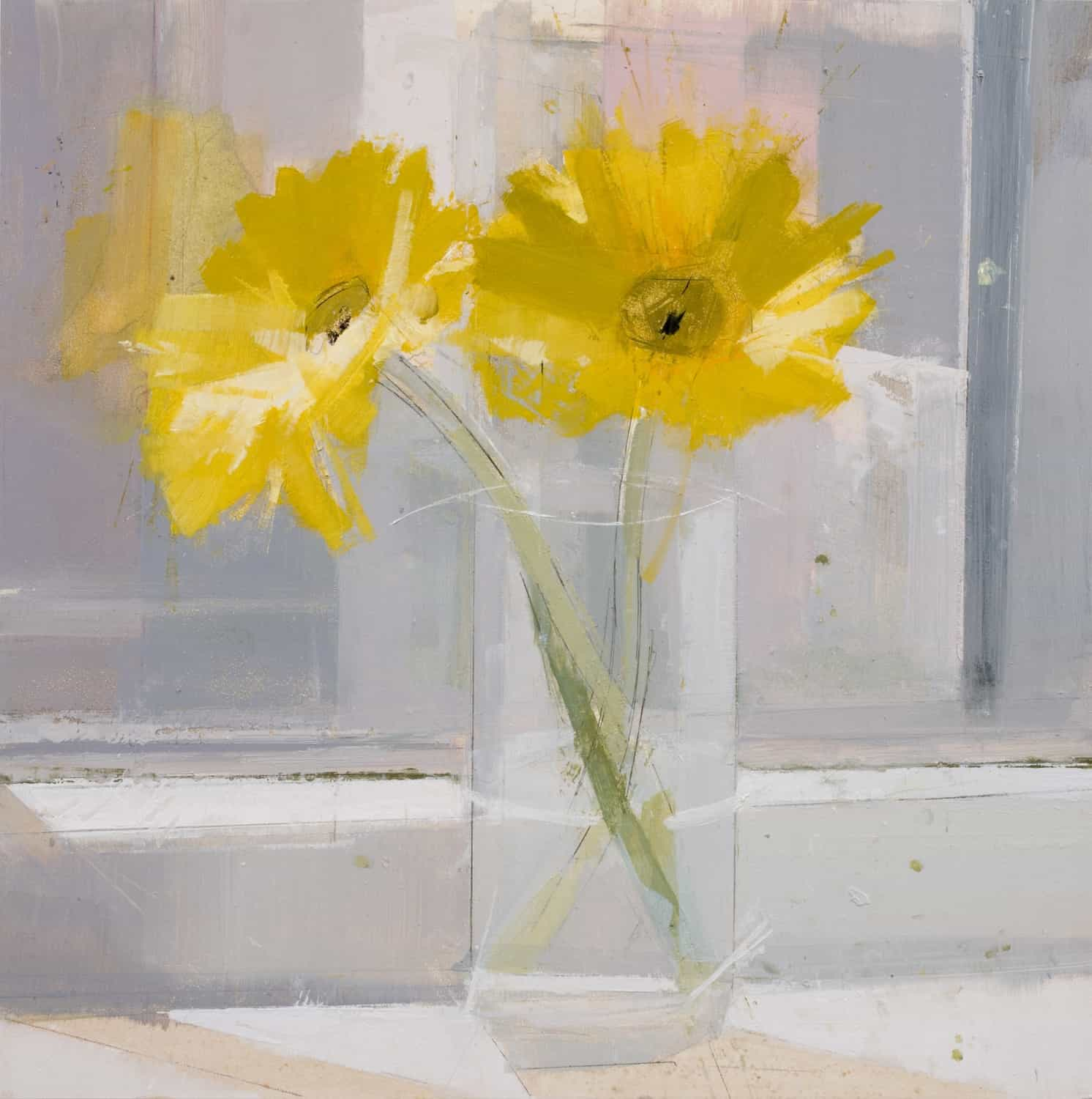 Flowers in a Glass 3 (2010), oil and pencil on panel, 12 by 12 inches