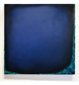 "Quietness (2001), oil on canvas, 48 by 48 inches (inspired by Crater Lake); 48"" square"