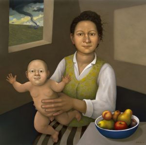 Flying Baby (2012), oil on panel, 24 by 24 inches