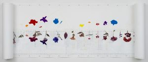 'August' Garden Scroll (2002-2016), mixed media on paper, 36 inches high; variable depth and length; maximum length 14 feet, 5 inches (installation dimensions in photo: 36 inches high x 9 inches deep x 9 feet long)