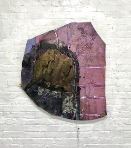 Daniel John Gadd, I'll Help You Swim (2018), oil, metal leaf, mirrored glass, wax string, oil paint on wooden panel, 40 by 33 by 2 inches