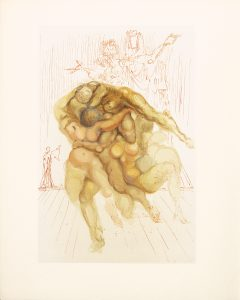 The Divine Comedy, Inferno, Choleric People, 1960, wood engraving in color on Rives paper after a watercolor, 10 by 6.25 inches