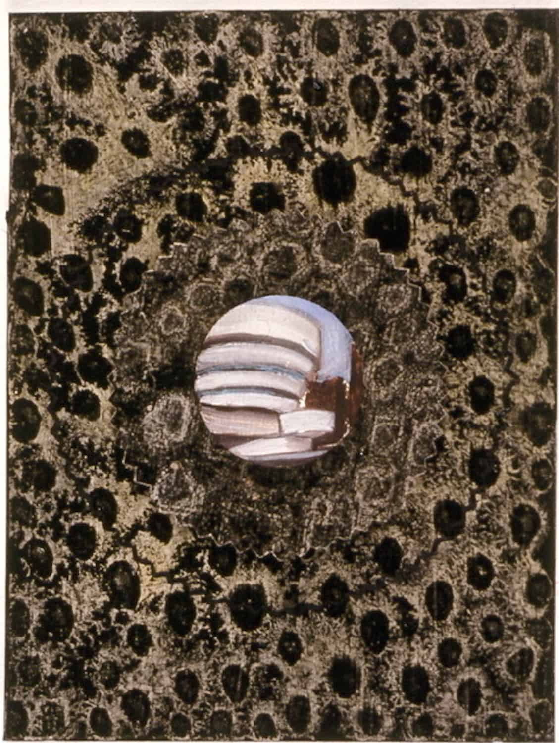 "From the ""Oracles"" series (1995-96), the Guggenheim, oil on paper and linen-covered button. 6.5 by 4.75 by 1.6 inches in diameter"