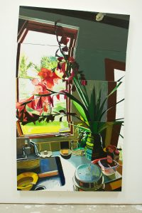 Flowers for a Secret (2017), oil on panel, 77.25 by 45 inches