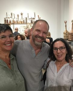 Virginia Katz (right) at an opening with fellow artists Kiel Johnson and Andrea Bersaglieri