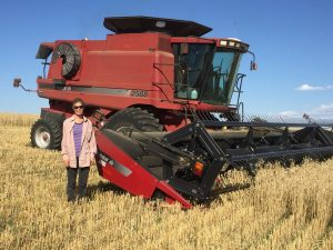 Tracy Linder helping out at harvest time