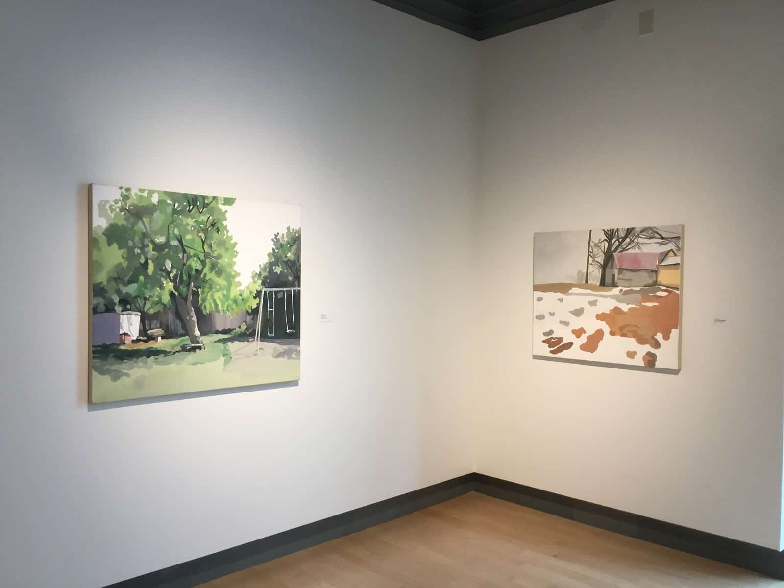 Two paintings from a show of Sheila Miles's work at the Missoula Art Museum in Montana last year