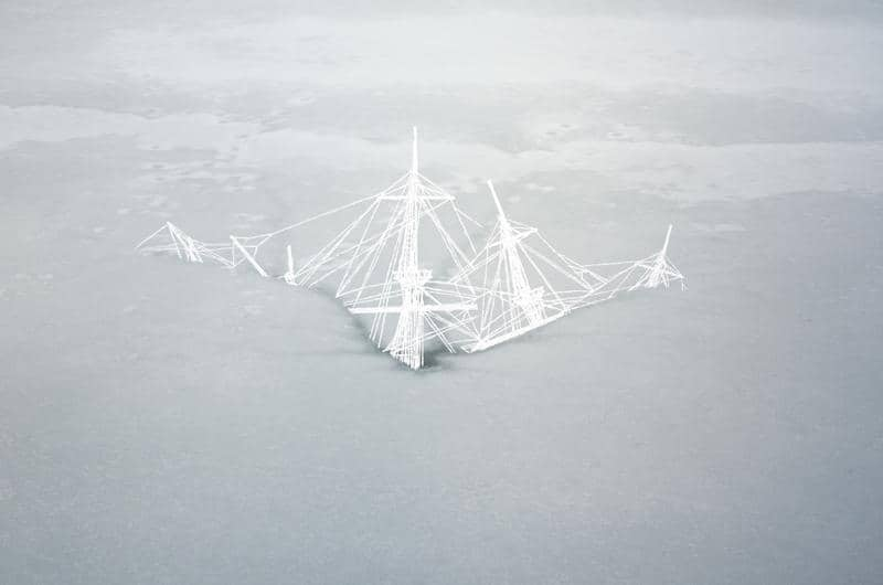 Christopher Russell, Ghost Ship Wreck (2012), Epson Ultrachrome HDR print scratched with a razor, 40 by 60 inches