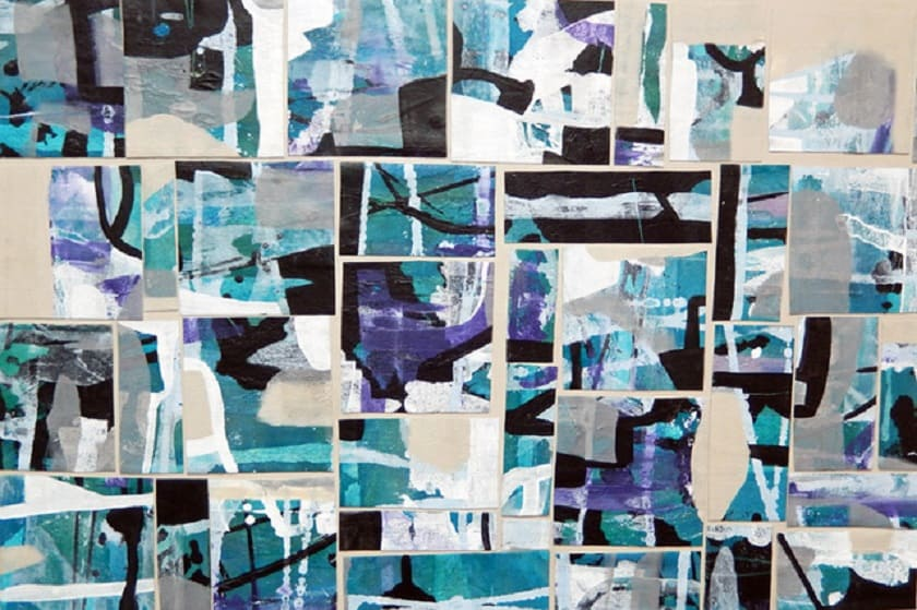 Creative recycling: Diane Sanborn cut up and collaged pieces of an old painting to create a new work called Strategies, acrylic on board, 24 by 36 inches