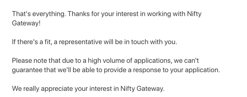 Nifty Gateway Submission process