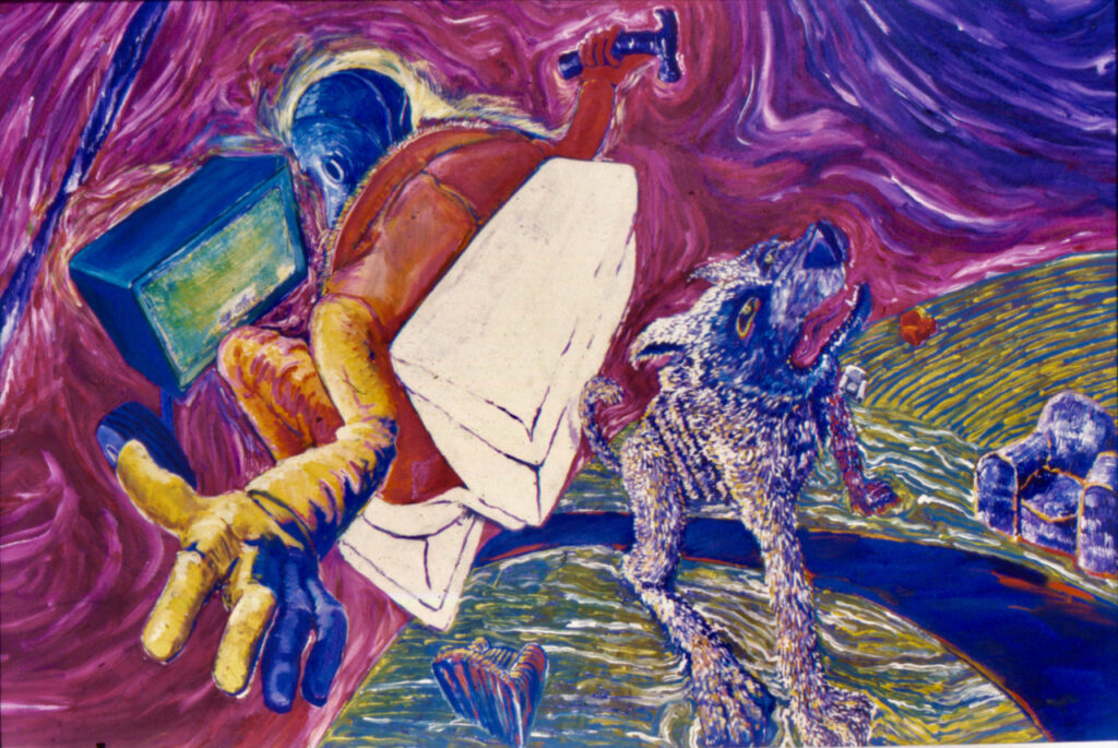Planet Head Flied the Air Waves (1985), acrylic on canvas, 50 by 90 inches